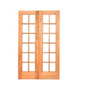 G2 horizontal rail glass hardwood double doors large for Small double french doors